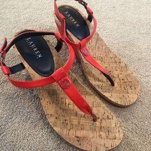 Lauren Red Wedge Sandals